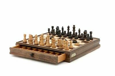 DAL ROSSI ITALY 38.5cm Wooden Chess & Checkers Set Rrp$189