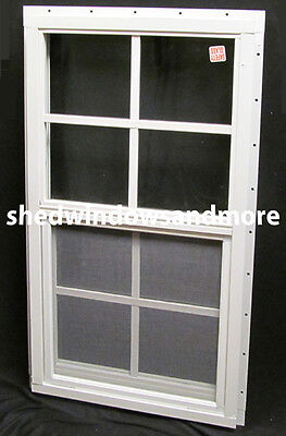 Shed Window 14 x 27 White J-Channel Playhouse Chicken Coop Garage Storage Shed