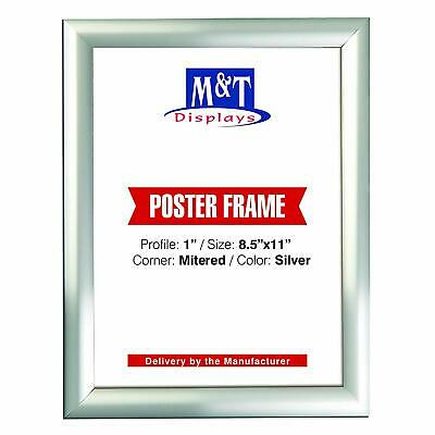 """8.5"""" x 11 Snap Frame, 1"""" Profile, Mitered Corners, Wall Mounted - Silver"""