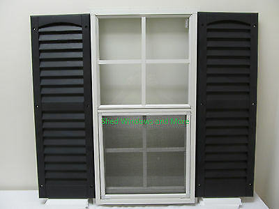 Shed Window 14 x 27 White J-Channel + Shutters Storage Shed Playhouse Garage