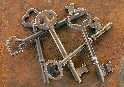 Five  ( 5)  Antique / Vintage  Mortise Lock Skeleton Keys  Antique Door Keys