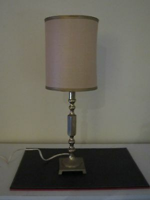 Beautiful Vintage Retro Brass Table Lamp With Beige Shade