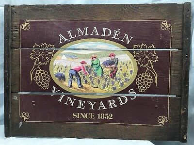 Wine Country California Vineyard~Wooden Sign~ALMADEN VINEYARDS 1852~Free Ship