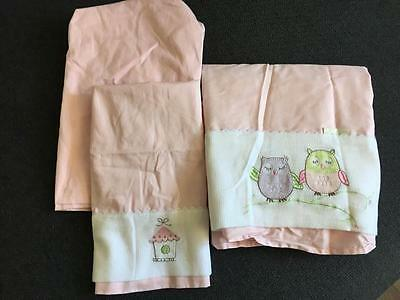 New BUBBA BLUE 3 pce Baby Cot Sheet Set Pink Owl Flat Fitted Pillowcase FREE POS