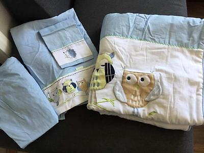 New BUBBA BLUE 4 pce Baby Cot Set Blue Owl Quilt Flat Fitted sheets Pillowcase