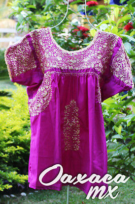 088 Womens Mexican Embroidered Magenta Blouse Oaxaca Boho Hippie Mayan Style