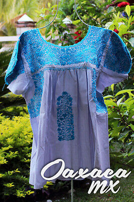 089 Womens Mexican Embroidered Grey Blouse Oaxaca Boho Hippie Mayan Style