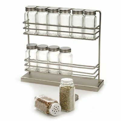 RSVP Stainless Steel Two-Tier Spice Rack with 12 Bottles [Kitchen]