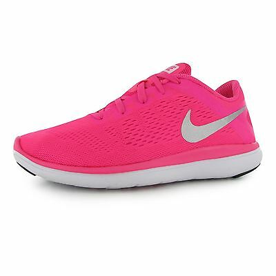 Nike Flex 2016 Running Trainers Junior Girls Pink/Silver Sports Shoes Sneakers