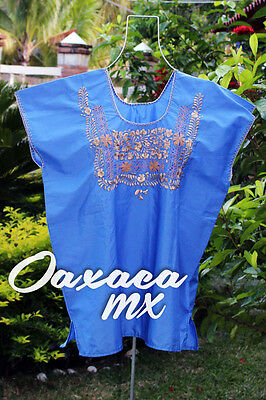 103 Womens Mexican Embroidered Blue Blouse Oaxaca Boho Hippie Mayan Huipil