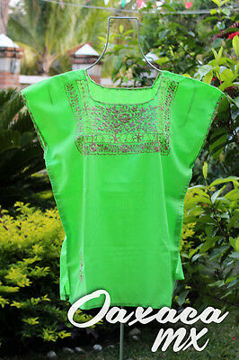 104 Womens Mexican Embroidered Green Blouse Oaxaca Boho Hippie Mayan Huipil