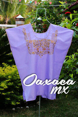 108 Womens Mexican Embroidered Purple Blouse Oaxaca Boho Hippie Mayan Huipil
