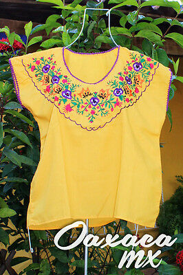 114 Womens Mexican Embroidered Yellow Blouse Oaxaca Boho Hippie Mayan Huipil