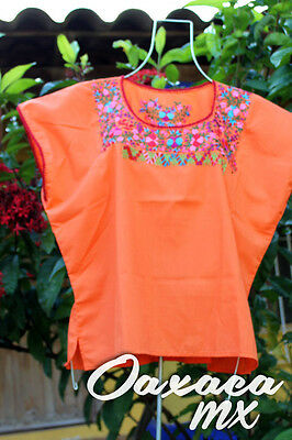 115 Womens Mexican Embroidered Orange Blouse Oaxaca Boho Hippie Mayan Huipil