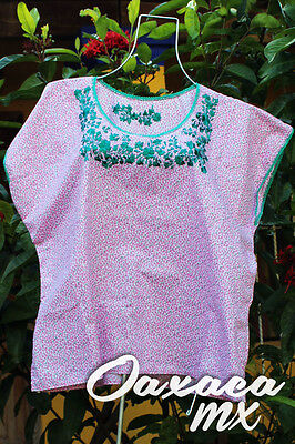 117 Womens Mexican Embroidered White and Pink Blouse Oaxaca Boho Hippie Mayan