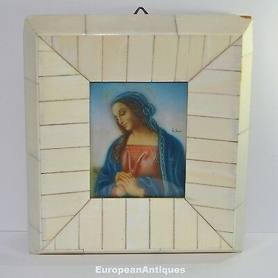 Miniature Antique French Icon Picture of Mary Magdalen Signed Veneer Tile Frame