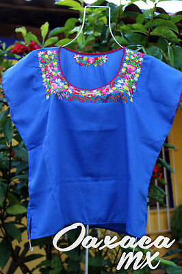 118 Womens Mexican Embroidered Blue Blouse Oaxaca Boho Hippie Mayan Style