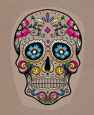 "(#69) SUGAR SKULL 10"" x 7.25"" iron on heat transfer Day of the Dead"