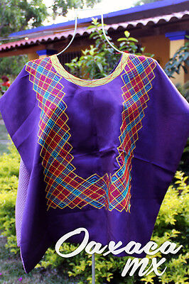 126 Womens Mexican Embroidered Purple Huipil Oaxaca Boho Hippie Mayan Blouse