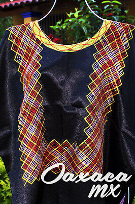 127 Womens Mexican Embroidered Black Huipil Oaxaca Boho Hippie Mayan Blouse