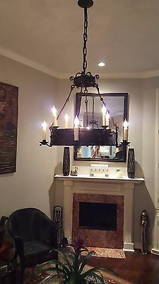 Antique Wrought Iron Chandelier (Belgium) with Greek Mythical Characters