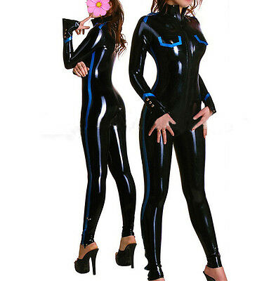 Black Latex Women Catsuit Front Zipper Sexy Club Wear Costumes Customize Service