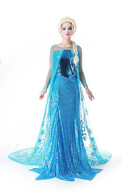 Adult Women Princess Frozen Elsa Costume Ice Queen Cosplay Outfit Fancy Dress M