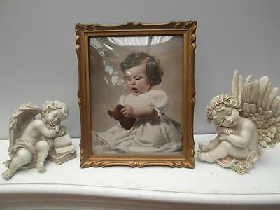 Vintage ANTIQUE Gold PICTURE Frame CONVEX Glass with GORGEOUS Baby GIRL Adelaide