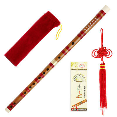 1pc Fashion Red Handmade Dizi Bamboo Flute Traditional Musical Instrument 5 keys
