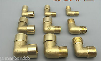 """2x 1/8""""1/4"""" 3/8""""1/2"""" BSP Male Female Elbow Connection Pipe Brass Coupler Adapter"""