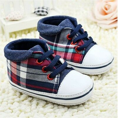 Baby Newborn Kids Boy Girl Soft Crib Sole Sneaker Toddler Anti-slip Plaid Shoes