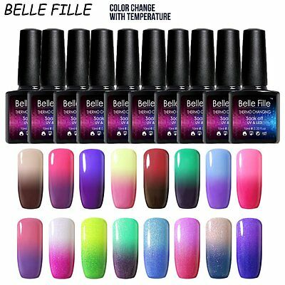 BELLE FILLE Chameleon Temperature Color Change Nail Gel Polish Soak-off UV 10ml