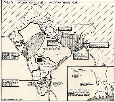 Vintage Sketch Map, India, 1770-1783, Work Of Clive & Warren Hastings