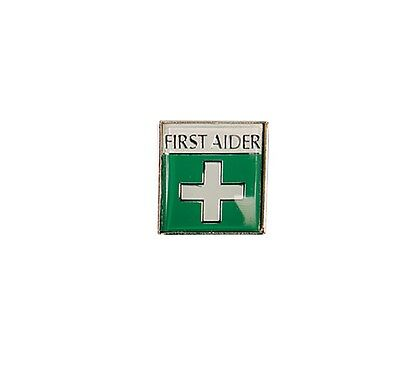 First Aider Green Enamel Metal Badge - Easy Identification
