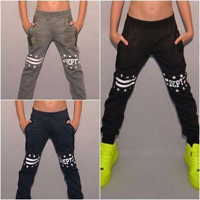 Super warme UNISEX Kinder Sweat Freizeit Hose mit DEPT STARS print