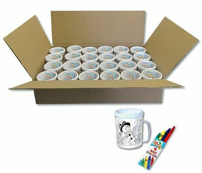 10 Christmas Colour Your Own Mugs With 10 Packs Of Wax Crayons