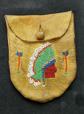 Native Deer Skin Tobacco Pouch Beaded Chief L@@k..