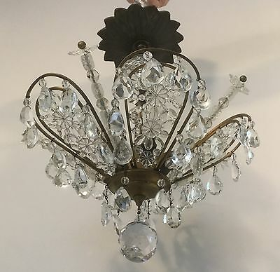 Antique French Bronze Brass Beaded Crystal Chandelier Maison Bagues Flower