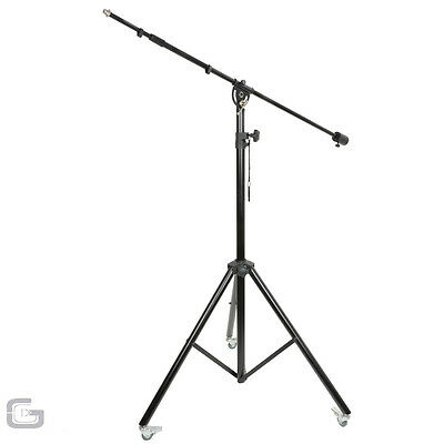 QTX Professional Studio Microphone Boom Stand On Wheels with Counter Weight