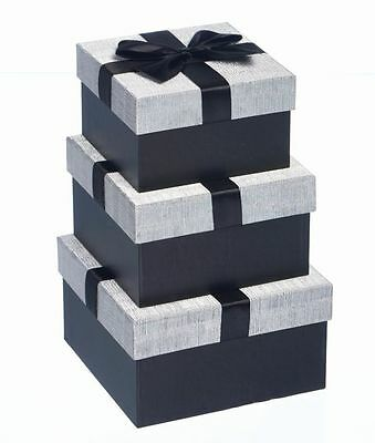 Luxury Gift Boxes-Nest of 3 Silver & Black - Black Ribbon/Bow -GBB072 - Stunning