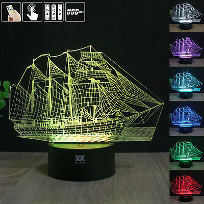 Ferry Sailboat  3D LED Night Light 7 Color Touch Table Desk Lamp Remote Control