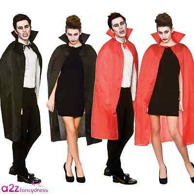 New Adult Cape Collar Halloween Vampire Dracula Black Red Fancy Dress Accessory