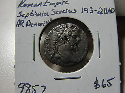 Ancient Roman Empire Septimiu Severus 193-211 AD AR Denarius Coin