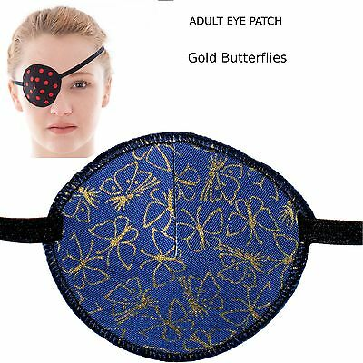 Medical Eye Patch BLUE AND GOLD BUTTERFLIES Soft and Washable