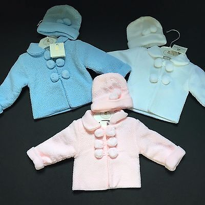 Baby Boys Girls Knitted Pom Pom Jacket And Hat Set White Blue Pink 0-12 Months