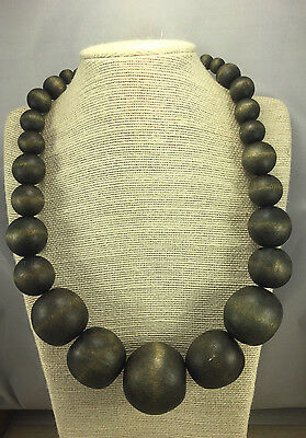 Vintage STYLE Necklace Wood Brown Graduated Chunky Silvertone Adjustable Choker