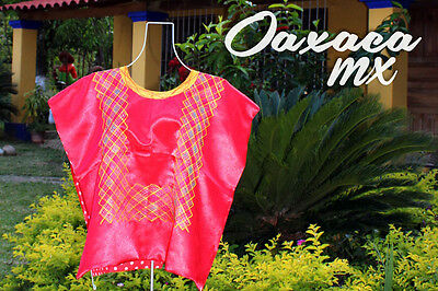 128 Womens Mexican Embroidered Red Huipil Oaxaca Boho Hippie Mayan Blouse