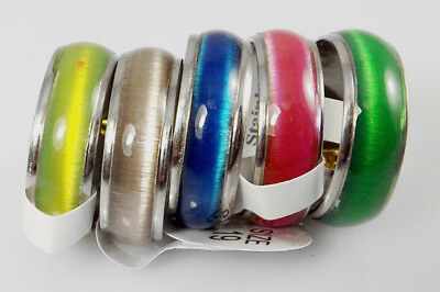 "10 pcs Color Mix ""Cat Eye "" Fashion Stainless Steel Rings Wholesale Jewelry lots"