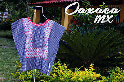 141 Womens Mexican Embroidered Blue Huipil Oaxaca Boho Hippie Mayan Blouse