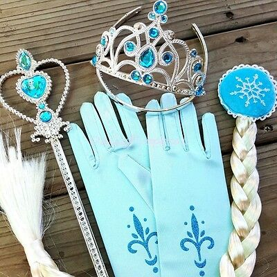 Disney Princess Accessory 1-6 Pk Braid Wig Crown Wand Glove Hairband Necklace US